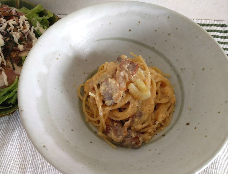 低カロリーで大満足カルボナーラ・ローマ風【だしとうま味の料理教室|名古屋】